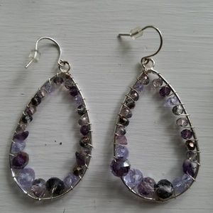 Kenneth Cole silver drop earrings with purple and